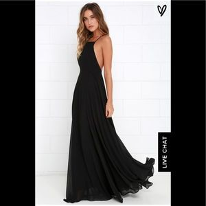 Lulus Black strappy backless maxi dress